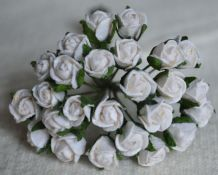 8mm WHITE SEMI-OPEN ROSE BUDS Mulberry Paper Flowers